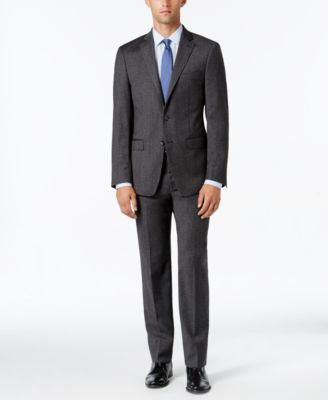 Calvin Klein Men's Extra Slim-Fit Charcoal Donegal Suit