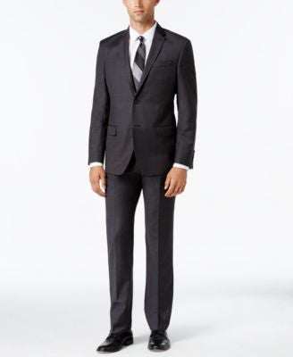 DKNY Men's Slim-Fit Charcoal and Brown Plaid Suit