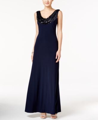 Betsy & Adam Sequined Cowl-Neck Scoop-Back Gown