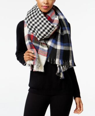 Steve Madden Multi-Faceted Plaid Blanket Scarf
