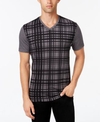 Alfani Men's Plaid V-Neck T-Shirt, Only at Vogily