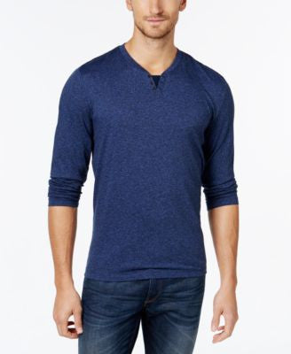 Alfani Big and Tall Long-Sleeve Split Crewneck T-Shirt