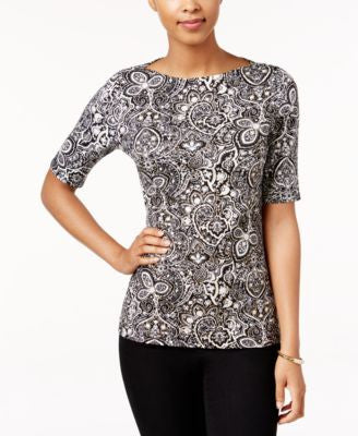 Charter Club Elbow-Sleeve Top, Only at Vogily