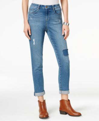 Style & Co. Petite Patchwork Putnam Wash Boyfriend Jeans, Only at Vogily