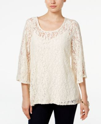 Style & Co. Lace Bell-Sleeve Top, Only at Vogily