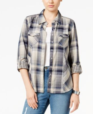 Style & Co. Petite Mixed-Print Plaid Shirt, Only at Vogily