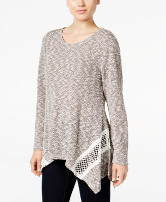 Style & Co. Lace-Trim Handkerchief-Hem Top, Only at Vogily