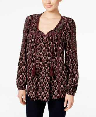 Style & Co. Petite Printed Faux-Suede-Trim Peasant Top, Only at Vogily