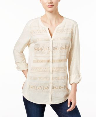 Style & Co. Petite Embroidered Shirt, Only at Vogily