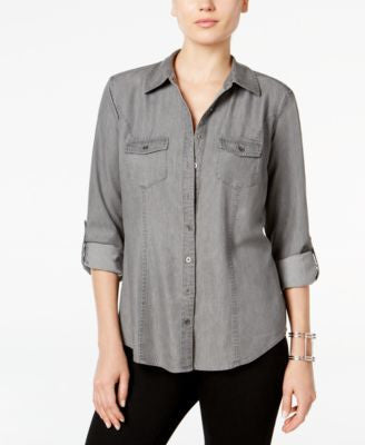Style & Co. Petite Denim Utility Shirt, Only at Vogily