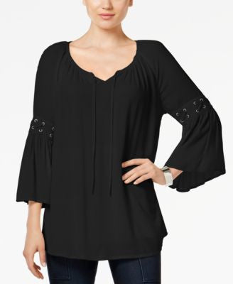 Style & Co. Petite Lace-Up-Trim Peasant Top, Only at Vogily