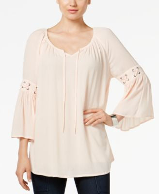Style & Co. Lace-Up-Trim Peasant Top, Only at Vogily
