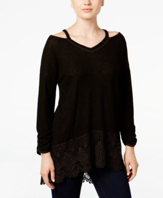 Style & Co. Petite High-Low Cold-Shoulder Top, Only at Vogily