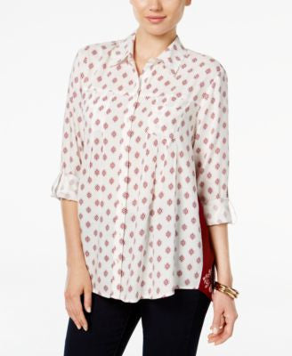 Style & Co. Petite Mixed-Print Shirt, Only at Vogily