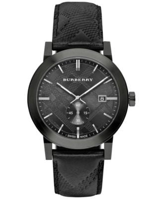 Burberry Women's Swiss Chronograph The Classic Round Black Check-Embossed Leather Strap Watch 42mm B