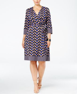 INC International Concepts Plus Size Fit & Flare Faux-Wrap Dress, Only at Vogily