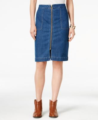 Style & Co. Zip-Front Denim Skirt, Only at Vogily