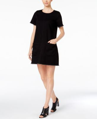 TWO by Vince Camuto Frayed Denim T-Shirt Dress