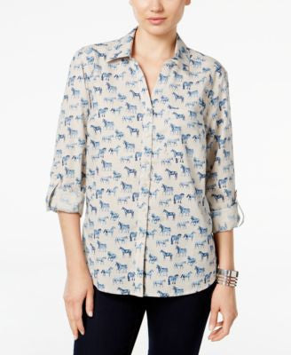 Style & Co. Horse-Print Shirt, Only at Vogily