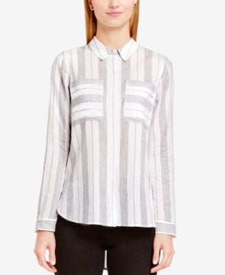 TWO by Vince Camuto Tab-Sleeve Striped Utility Shirt