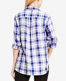 TWO by Vince Camuto Tab-Sleeve Plaid Utility Shirt