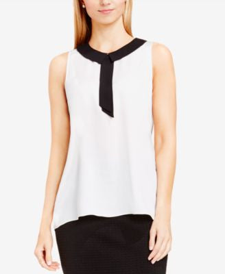 Vince Camuto Contrast-Collar Tie-Neck Top
