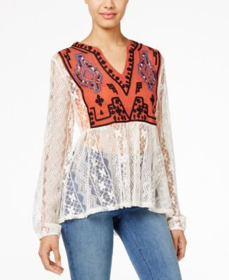 American Rag Embroidered Lace Peasant Top, Only at Vogily