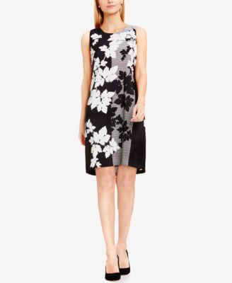Vince Camuto Mixed-Print A-Line Dress