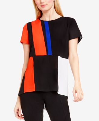 Vince Camuto Colorblocked High-Low Blouse