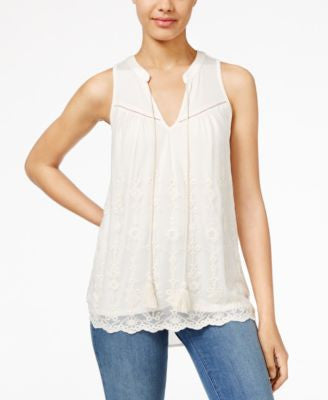 American Rag Embroidered Chiffon Tank Top, Only at Vogily