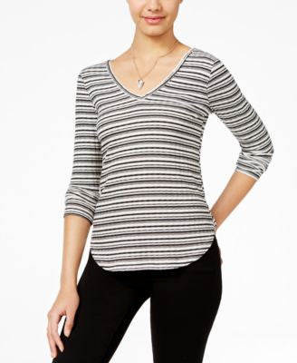 American Rag Striped Lace-Trim Top, Only at Vogily