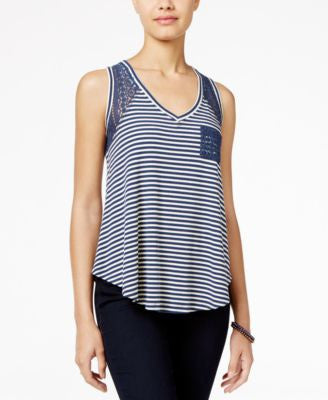 American Rag Striped Lace High-Low Tank Top, Only at Vogily