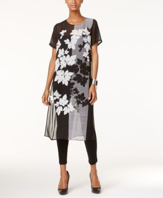 Vince Camuto Floral Colorblocked Tunic