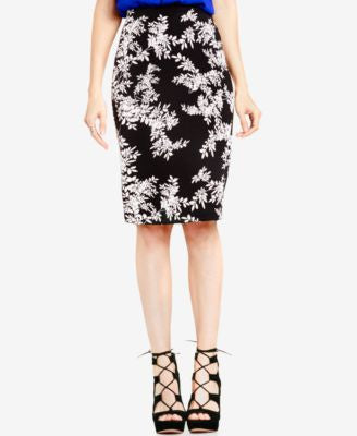 Vince Camuto Leaf-Print Pencil Skirt