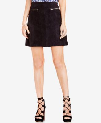 TWO by Vince Camuto Faux-Suede Fit & Flare Mini Skirt