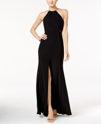 Xscape Illusion Side-Slit Necklace Halter Gown