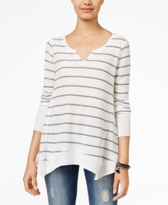 American Rag Striped Handkerchief-Hem Sweatshirt, Only at Vogily