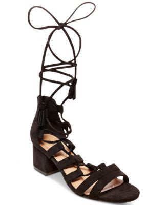 Madden Girl Loverrr Lace-Up Block-Heel Sandals