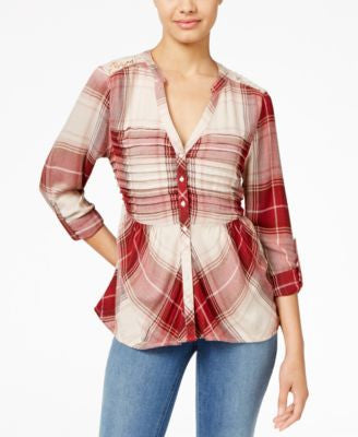 American Rag Plaid Lace-Back Shirt, Only at Vogily