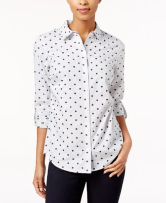 Charter Club Petite Dot-Print Striped Shirt, Only at Vogily