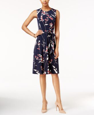 Charter Club Petite Printed Belted Midi Dress, Only at Vogily