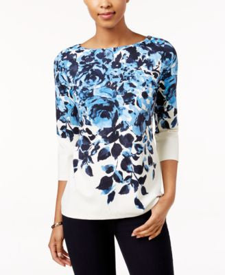Charter Club Petite Floral-Print Boat-Neck Top, Only at Vogily