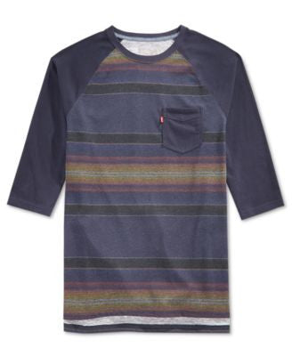 Hybrid Men's Striped Raglan-Sleeve T-Shirt