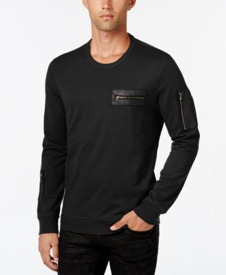 INC International Concepts Men's Stencil Faux-Leather Pocket Sweatshirt, Only at Vogily