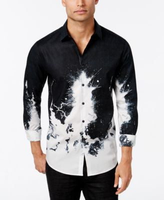INC International Concepts Men's Volta Splatter-Print Long-Sleeve Shirt, Only at Vogily