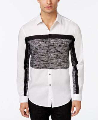 INC International Concepts Men's Nyos Pieced Colorblocked Long-Sleeve Shirt, Only at Vogily