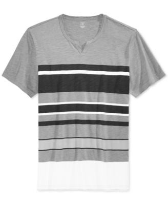 INC International Concepts Men's Newman Stripe Split-Neck T-Shirt, Only at Vogily