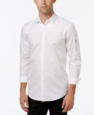 INC International Concepts Men's Textureblocked Long-Sleeve Shirt, Only at Vogily