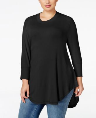 Melissa McCarthy Seven7 Trendy Plus Size Ribbed-Trim Tunic