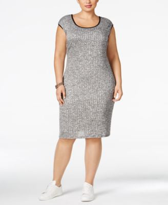 Love Squared Plus Size Textured Bodycon Sweater Dress